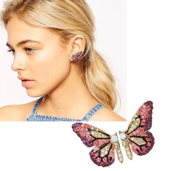🔆3/$30 New Crystal Butterfly Earrings